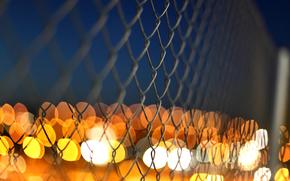 amarillo, valla, mancha, naranja, Macro, metal, neto, valla, luces