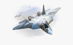 nose, Flies, aviation, Russia, speed, Air force, PAK FA, Dry, fighter, plane, multi-purpose, drawing, Two, wings