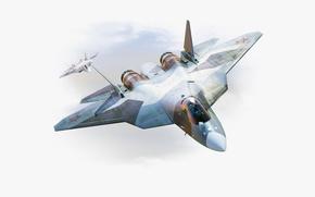 Нос, Летит, Авиация, Россия, Скорость, ВВС, ПАК ФА, Сухой, истребитель, Самолет, многоцелевой, Рисунок, Два, Крылья