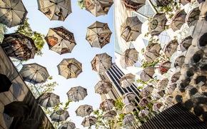 полёт, зонты, небоскрёбы, небо