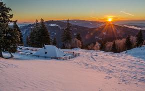 ☀, Montañas, nieve, mañana, sol, invierno
