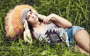 view, face, girl, plumage, shorts, grass
