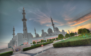 Abu Dhabi, Mosquée Sheikh Zayed, coucher du soleil, Émirats arabes unis