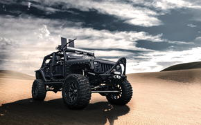 вранглер, пустыня, чёрный, джип, пулемёт, Jeep