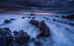 вечер, Испания, горизонт, скалы, камни, тучи, закат, сумерки, пейзаж, Бискайский залив, берег, небо