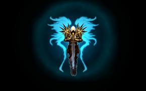 меч, арт, темный фон, крылья