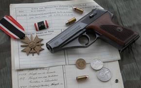 gun, ammunition, world, self-loading, German, medal, War, coins, times, second