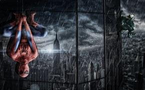 отражение, окна, висит, ливень, костюм, здание, паутина, человек паук, дождь