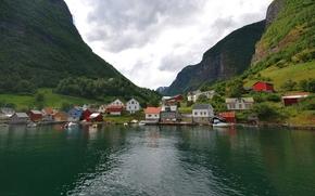 Норвегия, деревня, фьорд, домики, горы