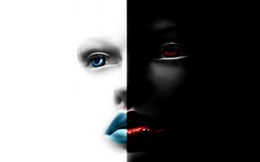 глаза, контраст, лицо, губы