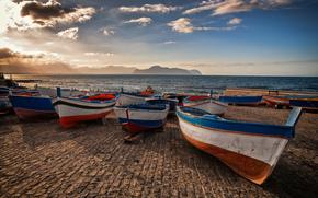 озеро, горы, Италия, лодки, причал