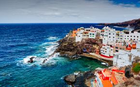 океан, скалы, побережье, здания, Канарские острова, дома, Испания, Плая-де-Калета-де-Арриба, природа, пасмурно, камни