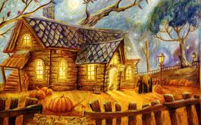 забор, луна, фонари, дом, люди, тыквы, хэллоуин, деревья