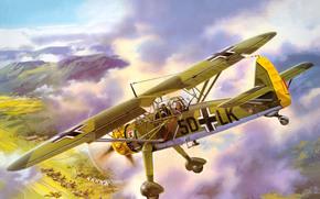 горы, земля, самолёты, взлётное поле, самолет, небо, рисунок, немецкий, палатки, аэродром, разведчик, ближний