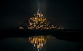 Мон-Сен-Мишель, освещение, отражение, Франция, остров, ночь