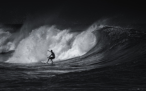 Sport, surfing, black and white