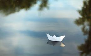 настроения, широкоэкранные, лодочка, лодка, фон, река, широкоформатные, полноэкранные, судно, отражение, природа, вода, бумажный корабль, обои, озеро