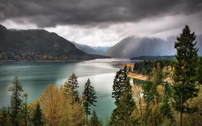 Parque Nacional Olympic, lago, Montañas, árboles, paisaje