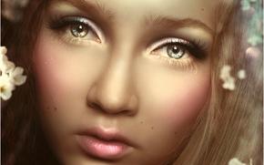 арт, волосы, девушка, лицо, губы, ресницы, крупным планом, цветы