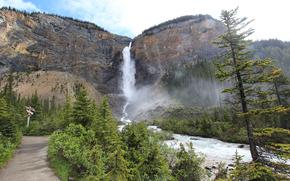 Takkakaw Cascate, Canada, Montagne, cascata, fiume, stradale, alberi, paesaggio