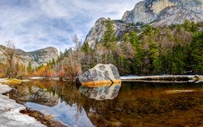 Yosemite, Mirror Lake, Montañas, árboles, lago, paisaje