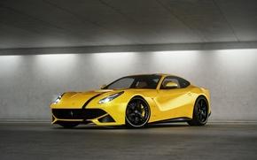 parcheggio, Ferrari, giallo, fari, Ferrari