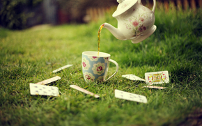 lawn, tea, cup, kettle, cards, grass, greens
