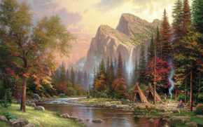 绘画, 吸烟, 河, 蒙古包, 瀑布, 托马斯·金凯德, 山, 茅舍, BONFIRE