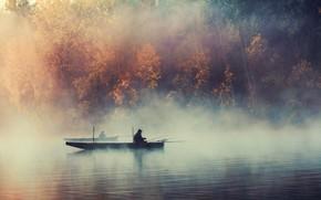 imbarcazione, pescatore, canna da pesca, PESCA, alberi, lago, pond, nebbia, pescatori
