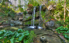 park, waterfall, Rocks, trees, plants, nature