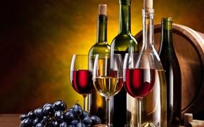 葡萄, ワイン, ボトル, 脚付きグラス, 束, 赤, 白, チューブ, ナッツ