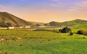 California Hills und Lake bei Sonnenuntergang, Hills, See, Sonnenuntergang, Landschaft