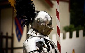 guerriero, cavaliere, metallo, armatura, casco, piumaggio