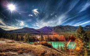 Parco Nazionale di Banff, Alberta, lago, Montagne, foresta, cielo, alberi, paesaggio