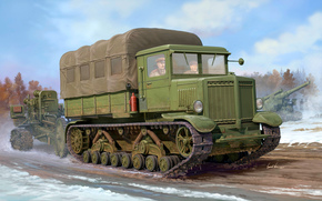 ussr, conveyor, WWII, power, Voroshilovets, artillery, Art, tractor, howitzer, range, Accuracy, Engine, Soviet, heavy, caliber, Other machinery and equipment, artist, heavy, tows
