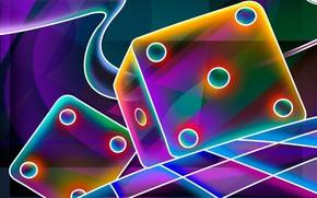 очертания, клетки, блеск, свет, доска, обои, игра, кубики, кости