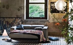 lamp, pictures, Pillow, flower, sofa, interior