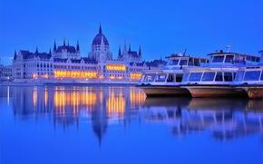 barche, luci, Budapest, sera, Ungheria, crepuscolo, Danubio, fiume, parlamento