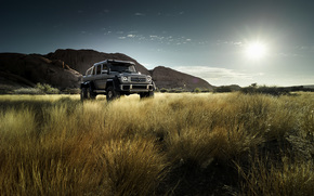 Mercedes, Montañas, MERCEDES BENZ, campo, sol