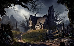 Old house, Halloween, road, fence, trees, mountains, Old house, halloween, road, fence, trees, Mountains