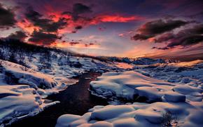 небо, облака, закат, зима, снег, река