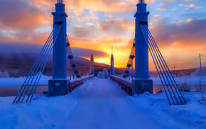 sky, clouds, winter, bridge, reliance