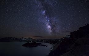 Crater, sky, Milky Way, lake, Star, landscape