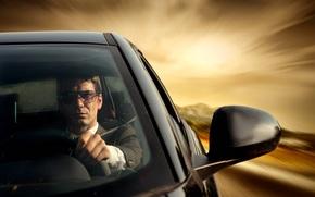 автомобиль, стиль, мужчина, за рулём, скорость