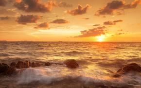 Thailandia, puntellare, mare, sabbia, bella scena tramonto tropicale, nuvole, paesaggio, cielo, natura