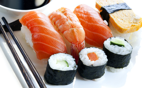 salmon, sushi, sashimi, red fish, rice, rolls, seafood, tofu, tiger prawns, Sticks, Japan, shrimp, sushi, Japanese cuisine, slices