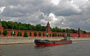 barcos, enviar, barcaza, enviar, río, urss, Moscú, buque de carga seca