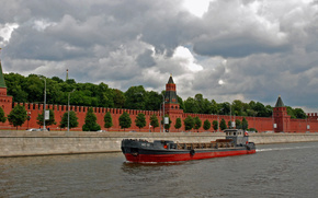 Корабли, корабль, баржа, судно, река, СССР, Москва, сухогруз