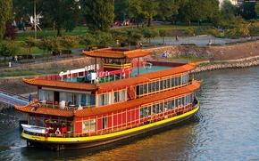 zwykle, statek, statek, rzeka, parahod