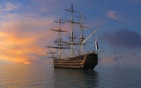 ship, parusnik.yahta, ship, ships, frigate, 3d, Rendering